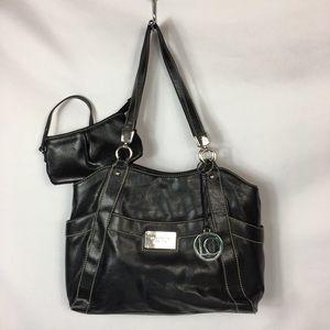LIZ CLAIBORNE Black Bag White Stitch Small Clutch